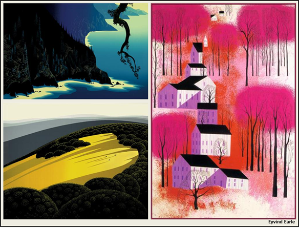 "Eyvind Earle (Artist); Magic Realism (Style); Titles: ""Big Sur"" (1991). ""Valley"" (1974). ""Autumn Sunset"" (1987)"