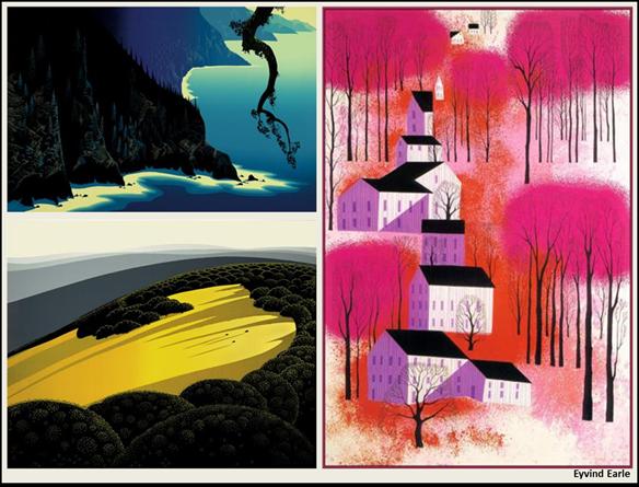 "Eyvind Earle (Artist); Magic Realism (Style); Titles: ""Big Sur"" (1991). ""Valley"" (1974). ""Autumn Sunset"" (1987)"