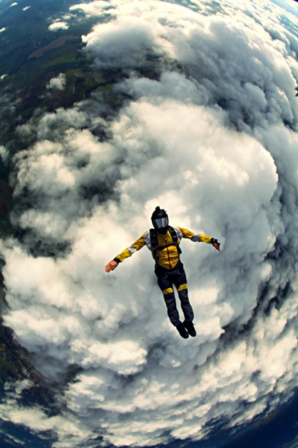 skydiving - fly - light - clouds