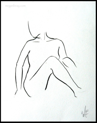 illustration, sketch, black and white, simple figure, woman figure