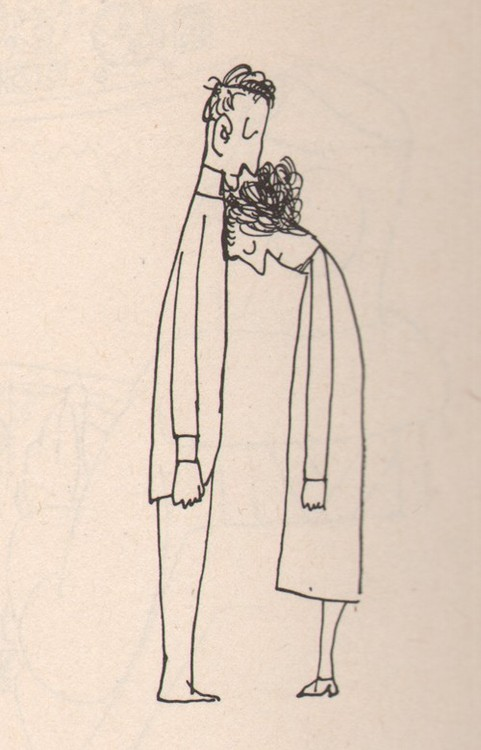illustration, woman leaning on man, sketch