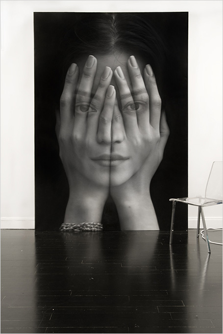 black and white, art, woman, hands on face