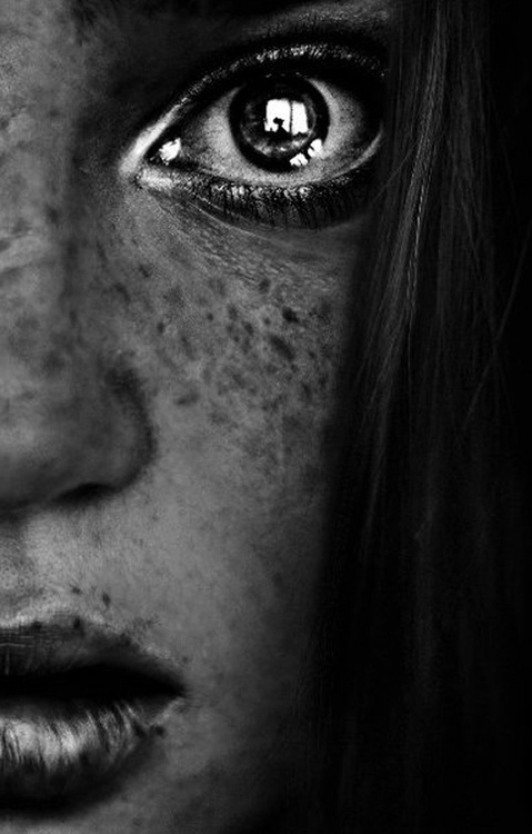 black and white, girl, freckles, eye, close-up, portrait, face