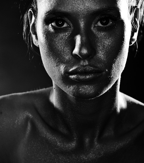 Portrait, Woman, Face, Black and White