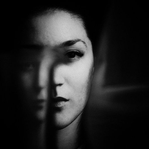 mirror, woman, portrait, black and white