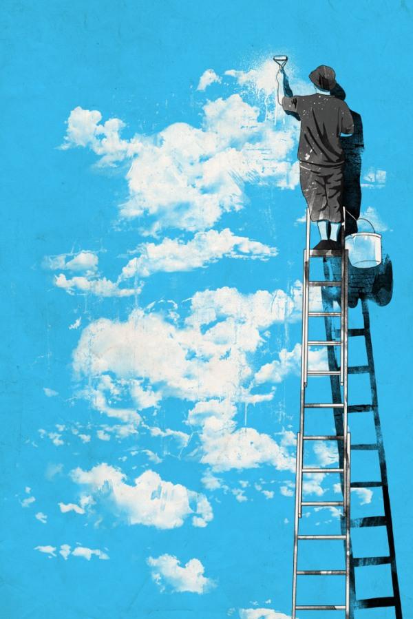 illustration, sketch, painting, paint, art, blue sky, optimism