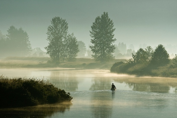 canoe, canoeing, river, mist, fog, Golden Ears Mountain