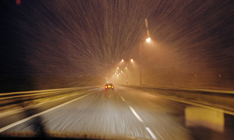 driving, winter, snow, highway
