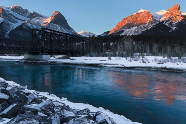 Ha Ling Peak, Alberta, Canada, mountain, sunrise, river, landscape, photography