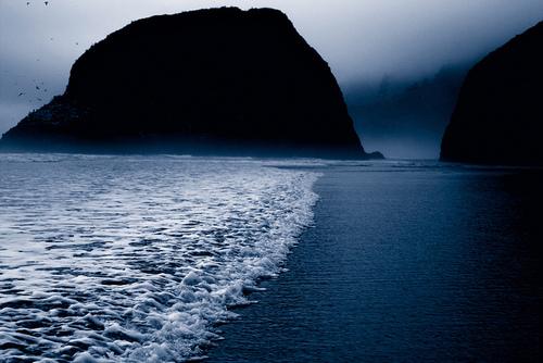 waves, dark, blue, shoreline, beach, rock
