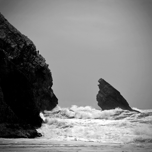 black and white, ocean, waves, photography