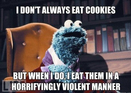 funny, laugh, true,cookies,craving, sweet, dessert, Sesame Street,memories