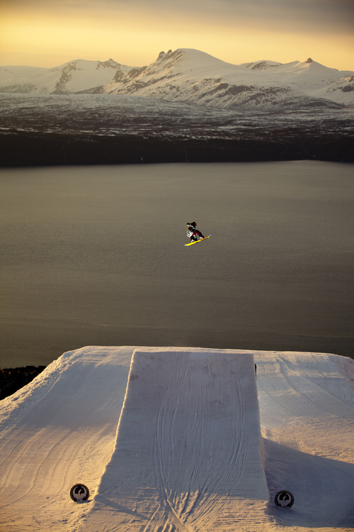 Narvik, Norway, Arctic Circle, snowboarding, extreme sports, jump, sunset, sunrise, mountains