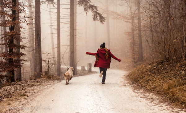 dog, running, girl running with dog, winter, running in woods, running on path, memories, happy