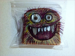 sandwich bag art, cookie, monster,