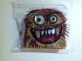 sandwich bag art, cookie, monster,