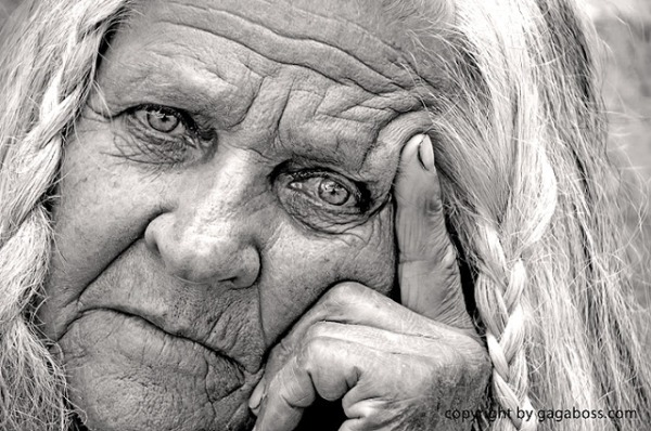 senior woman in black and white