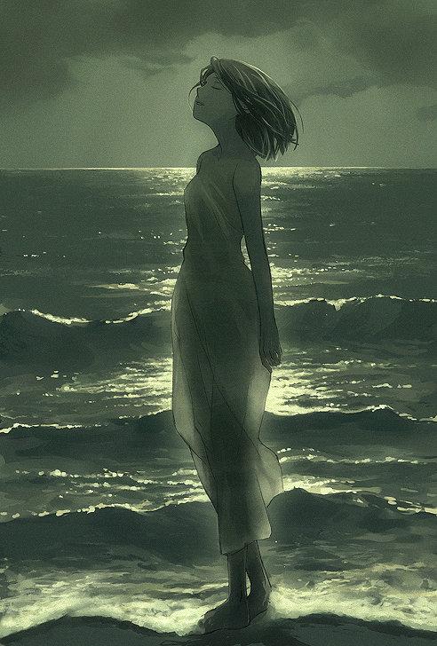 Lady in Moon Light Illustration
