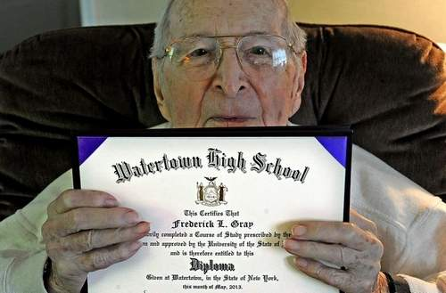 Frederick Gray 97-year old gets diploma