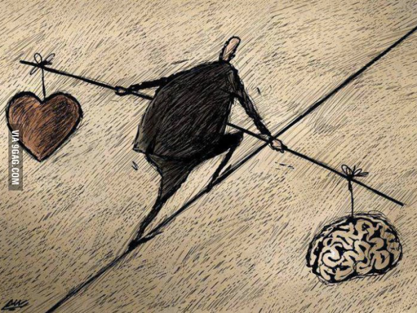 Heart and Head - walking the line illustration - art