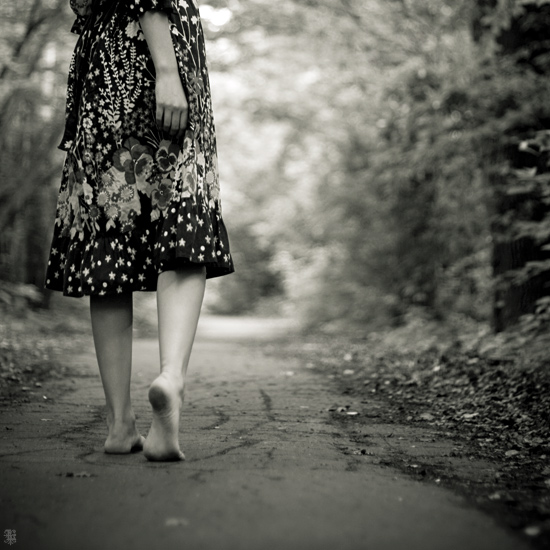 woman walking barefoot