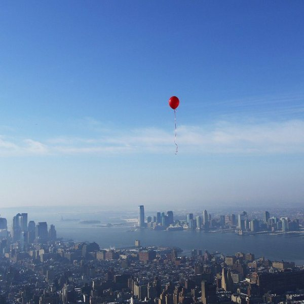 red balloon over Manhattan