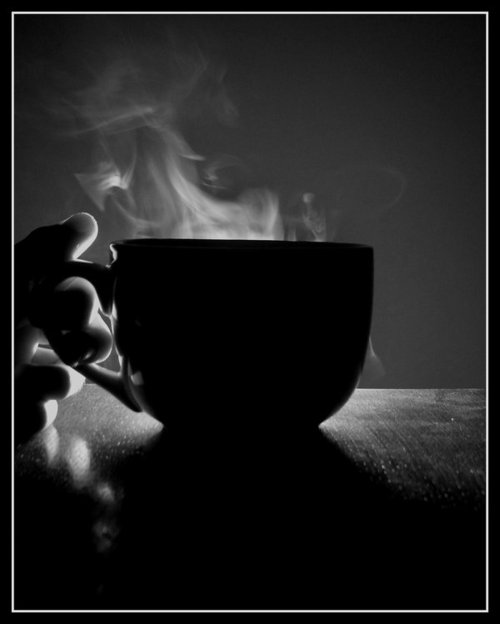 coffee, steaming, black and white, photography