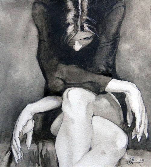 drawing,illustration,woman,ponder,grief,thinking,thoughts,black and white,art,woman