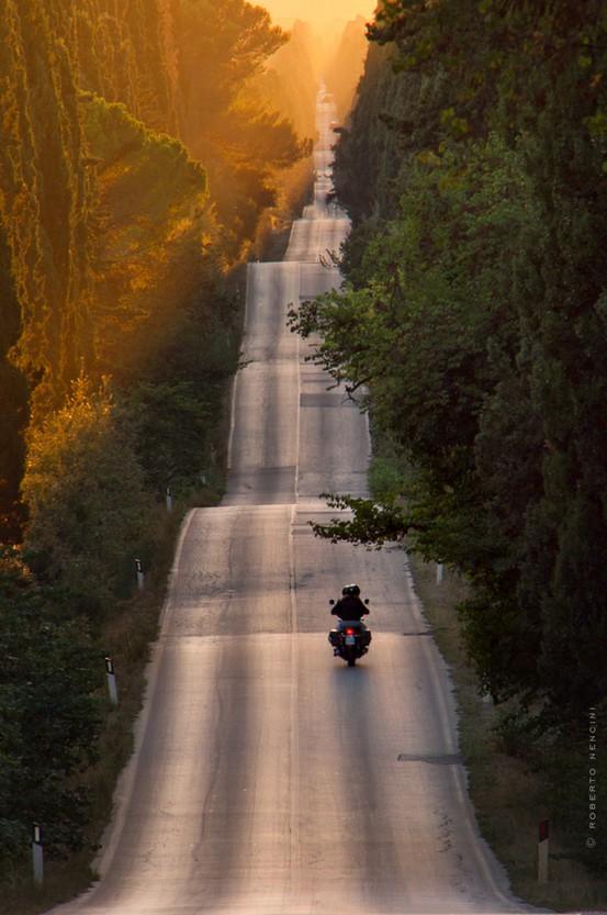 highway-sunset-motorcyle