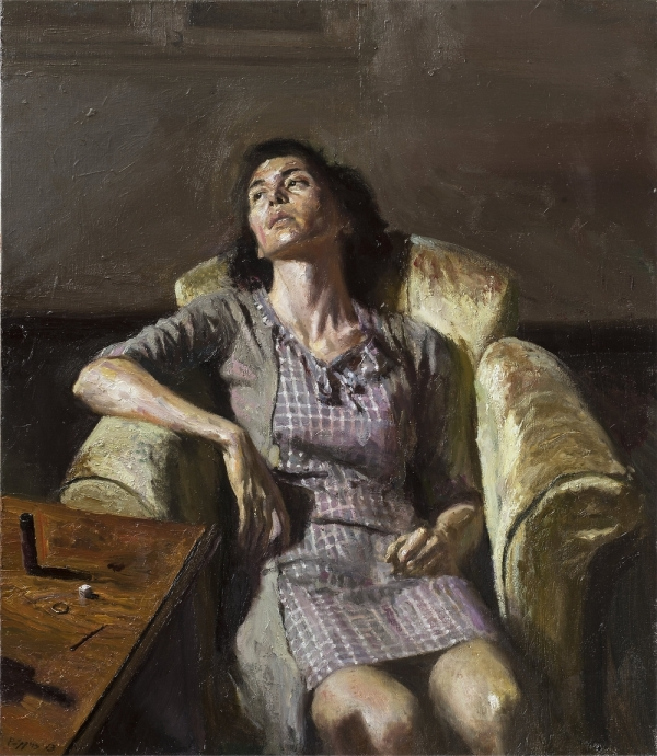 art, painting, woman,tired,exhausted, fatigue, Giorgos Rorris