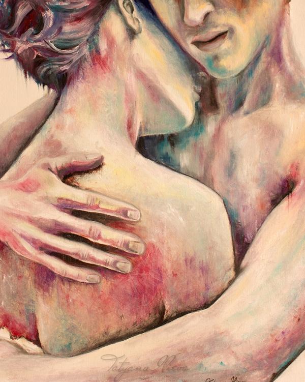 painting, art,love,hug,console