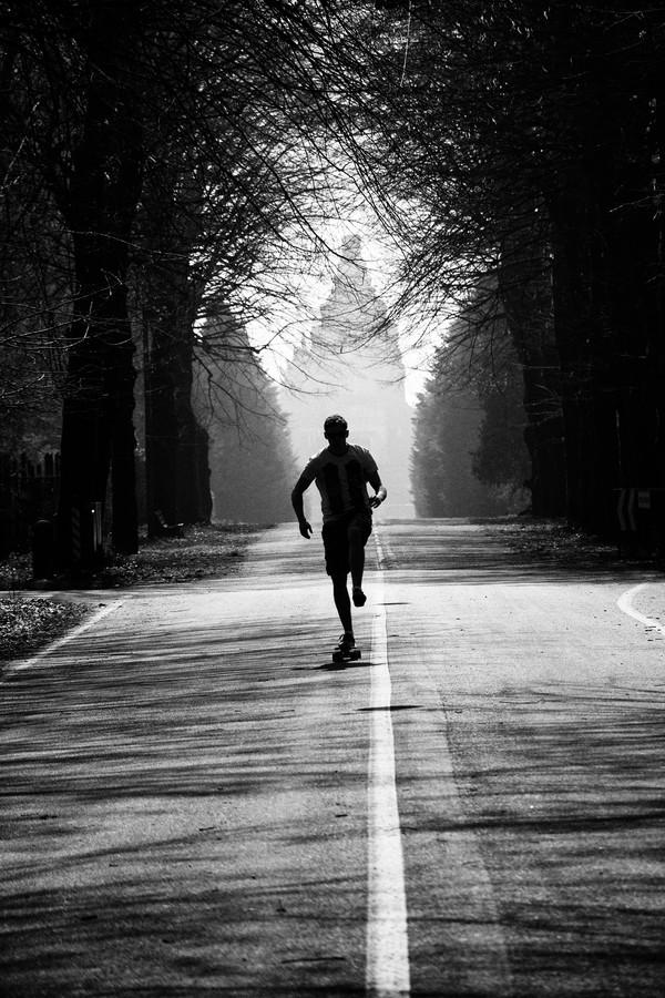 running-black and white