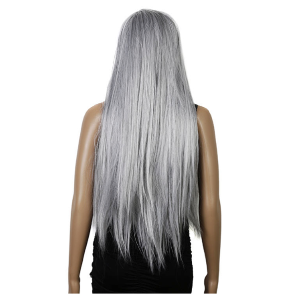 long grey hair, woman