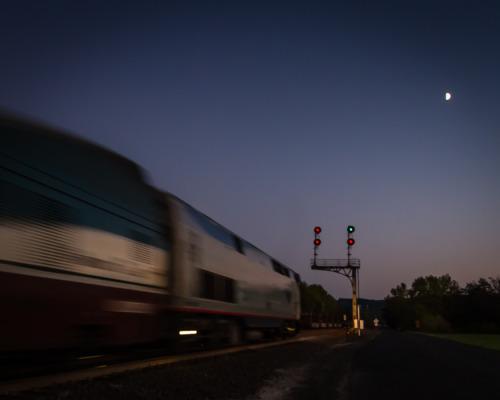 Amtrak Cascades train 509 races through Vader, WA.