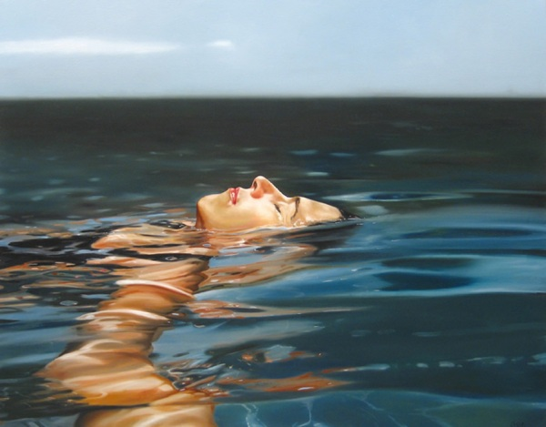 hyperrealism,art,swim,swimming,relax,