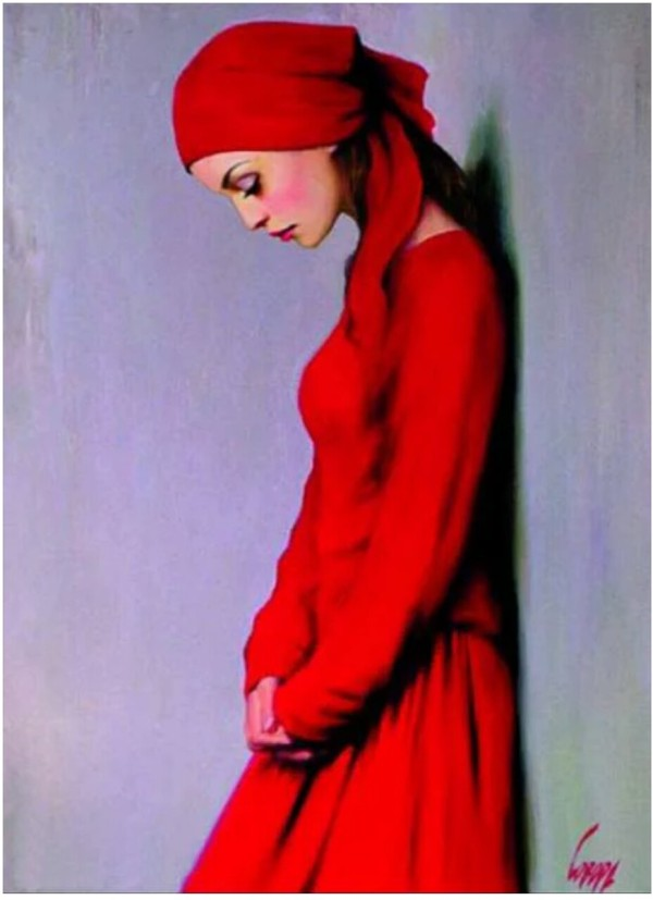 woman-red-dress-painting-art
